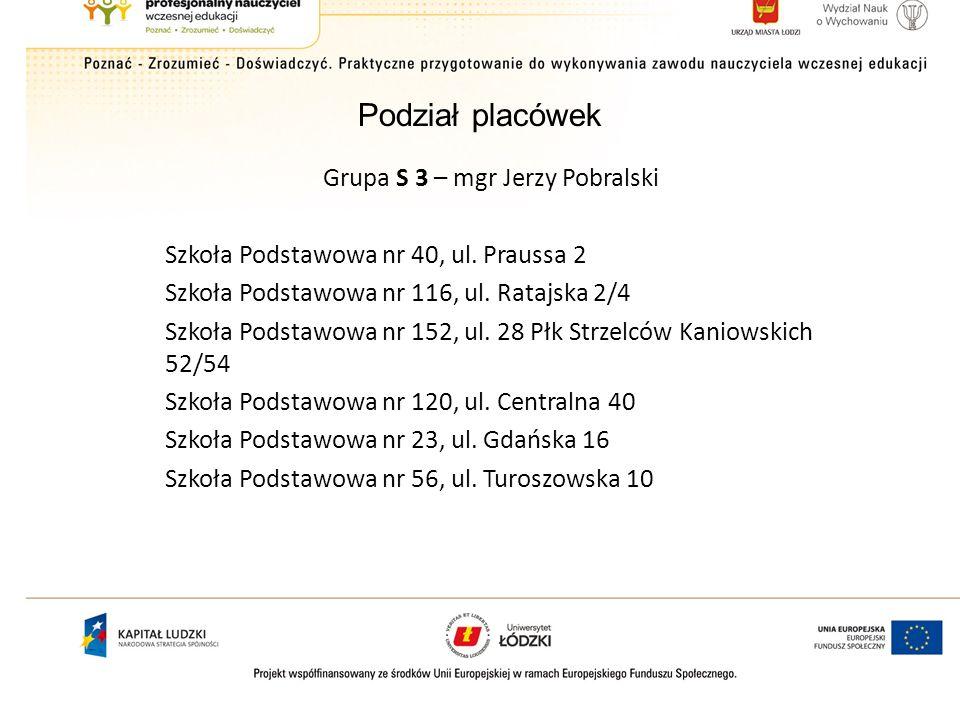 Grupa S 3 – mgr Jerzy Pobralski