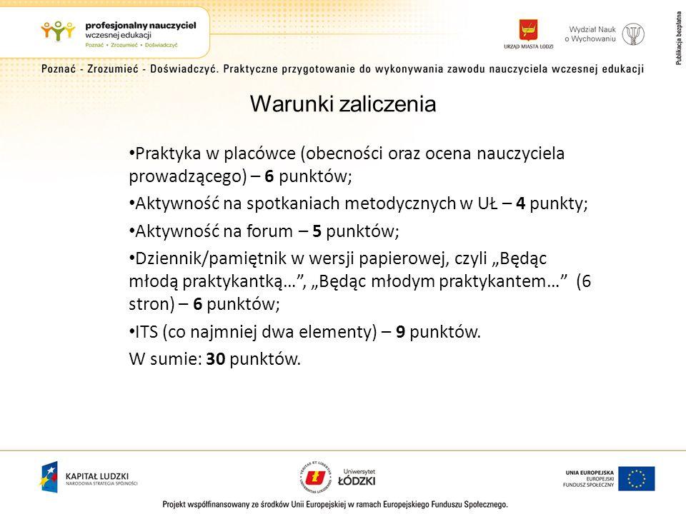 Warunki zaliczenia Praktyka w placówce (obecności oraz ocena nauczyciela prowadzącego) – 6 punktów;