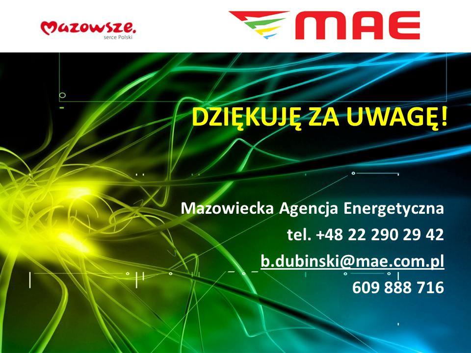 DZIĘKUJĘ ZA UWAGĘ! Mazowiecka Agencja Energetyczna