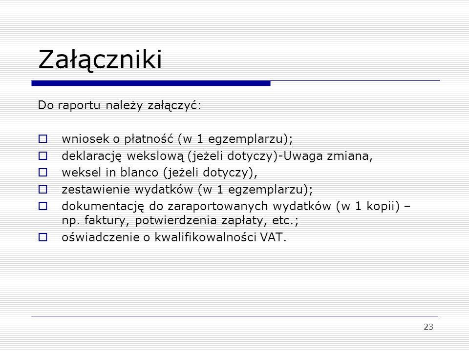 Załączniki Do raportu należy załączyć: