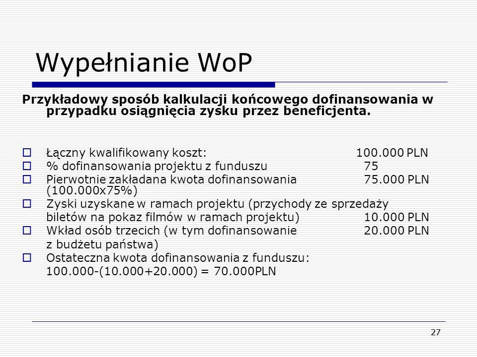 Wypełnianie WoP Przykładowy sposób kalkulacji końcowego dofinansowania w przypadku osiągnięcia zysku przez beneficjenta.