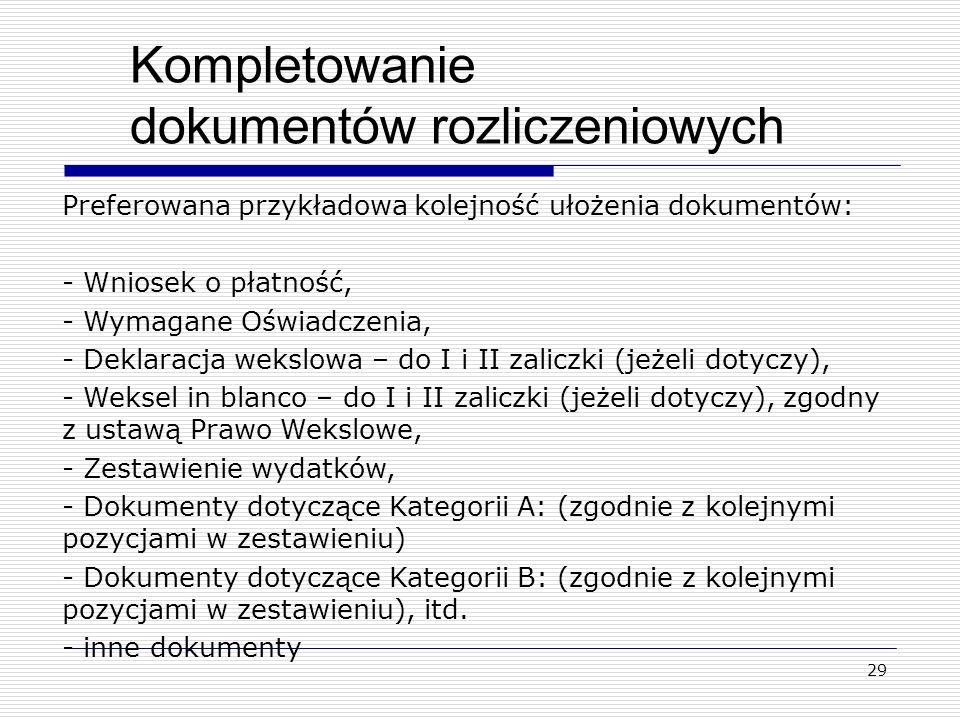 Kompletowanie dokumentów rozliczeniowych