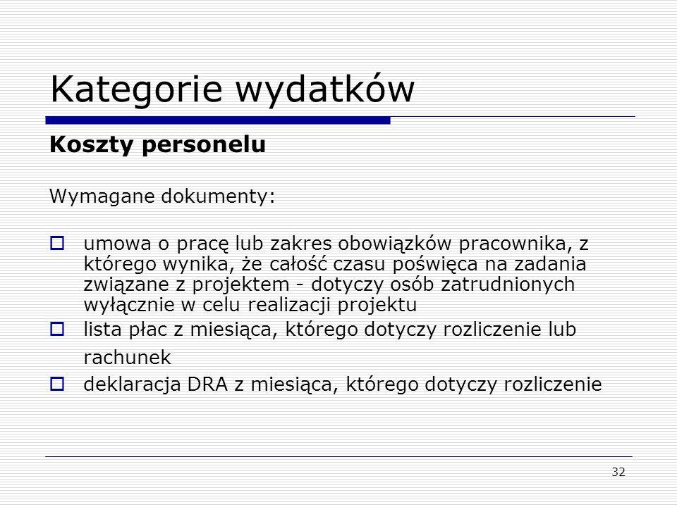 Kategorie wydatków Koszty personelu Wymagane dokumenty: