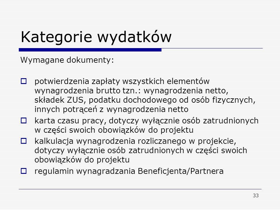 Kategorie wydatków Wymagane dokumenty: