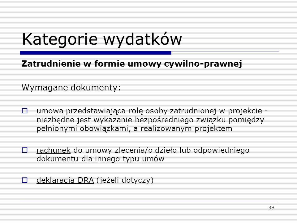 Kategorie wydatków Zatrudnienie w formie umowy cywilno-prawnej