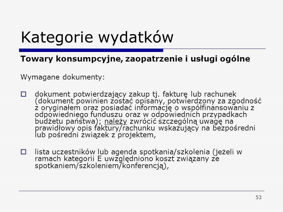 Kategorie wydatków Towary konsumpcyjne, zaopatrzenie i usługi ogólne
