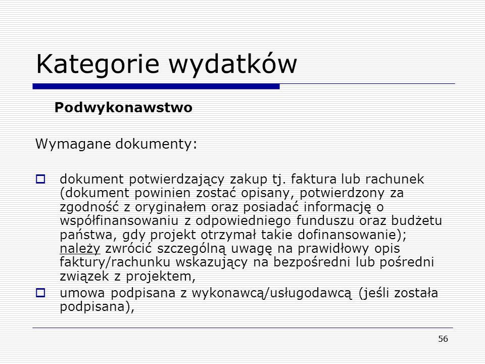 Kategorie wydatków Podwykonawstwo Wymagane dokumenty: