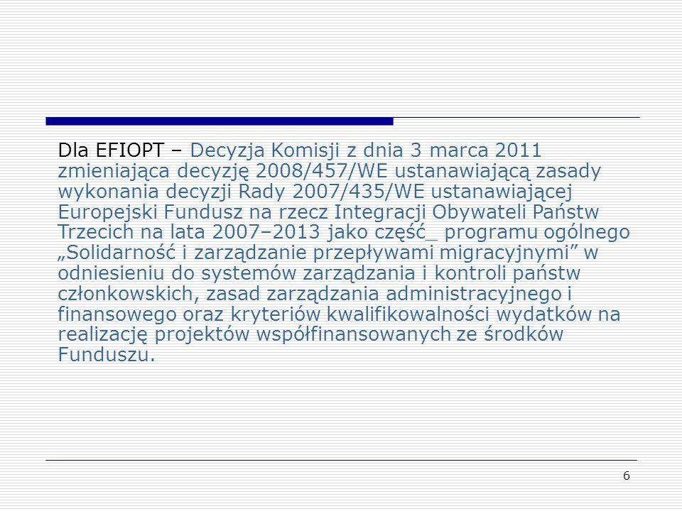 """Dla EFIOPT – Decyzja Komisji z dnia 3 marca 2011 zmieniająca decyzję 2008/457/WE ustanawiającą zasady wykonania decyzji Rady 2007/435/WE ustanawiającej Europejski Fundusz na rzecz Integracji Obywateli Państw Trzecich na lata 2007–2013 jako część_ programu ogólnego """"Solidarność i zarządzanie przepływami migracyjnymi w odniesieniu do systemów zarządzania i kontroli państw członkowskich, zasad zarządzania administracyjnego i finansowego oraz kryteriów kwalifikowalności wydatków na realizację projektów współfinansowanych ze środków Funduszu."""
