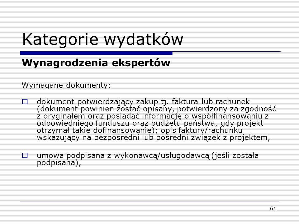 Kategorie wydatków Wynagrodzenia ekspertów Wymagane dokumenty: