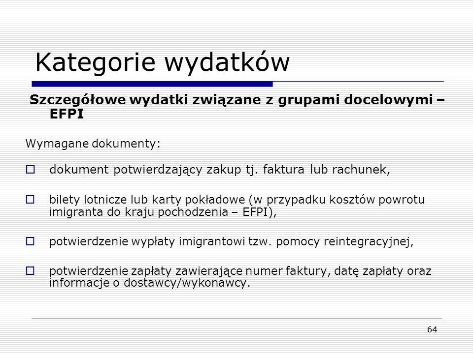 Kategorie wydatków Szczegółowe wydatki związane z grupami docelowymi – EFPI. Wymagane dokumenty: