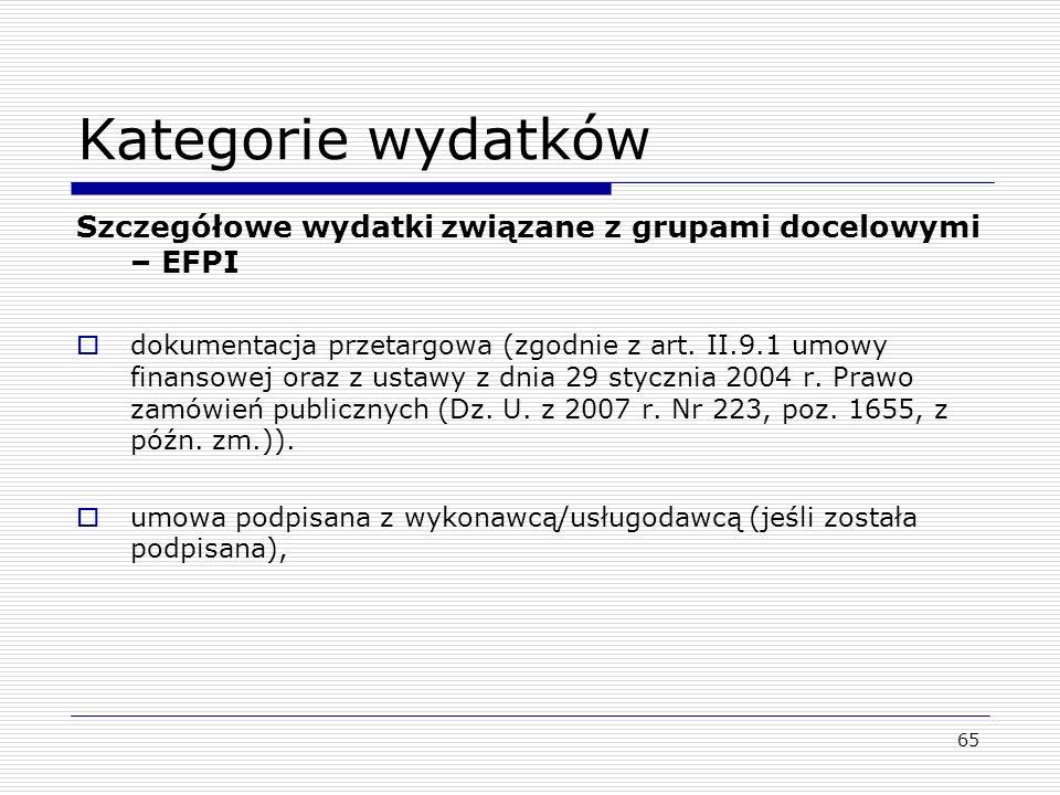 Kategorie wydatków Szczegółowe wydatki związane z grupami docelowymi – EFPI.