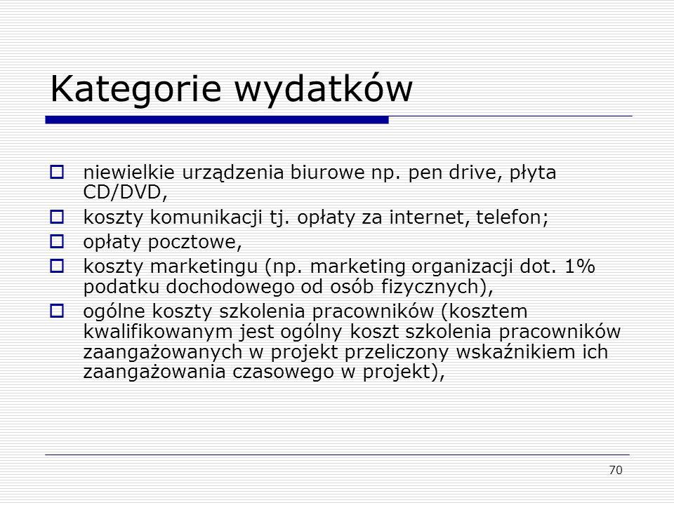 Kategorie wydatków niewielkie urządzenia biurowe np. pen drive, płyta CD/DVD, koszty komunikacji tj. opłaty za internet, telefon;