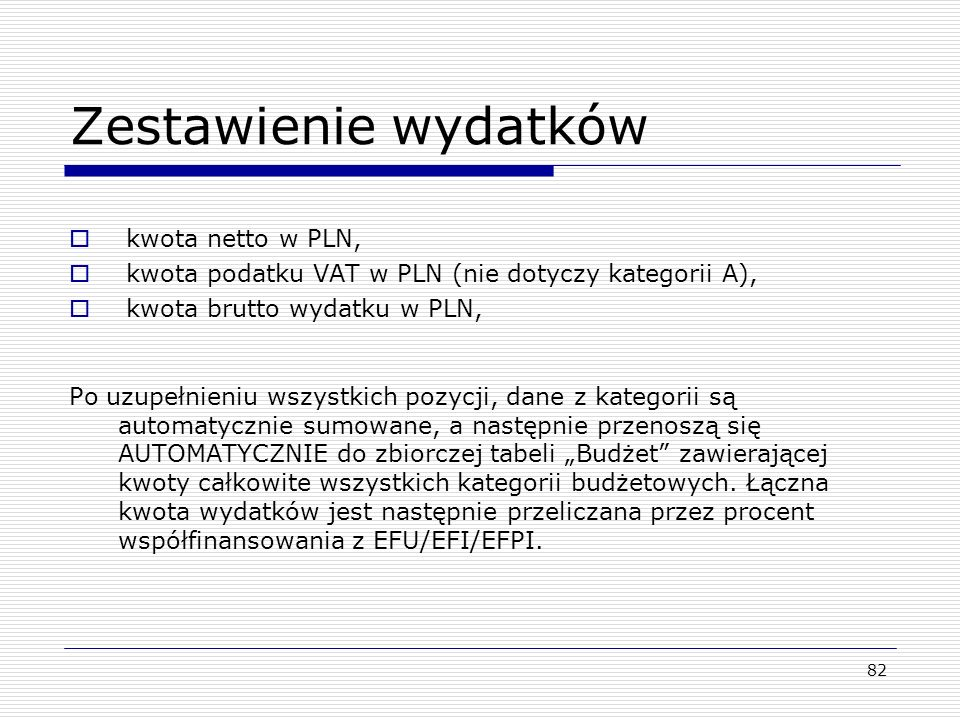 Zestawienie wydatków kwota netto w PLN,