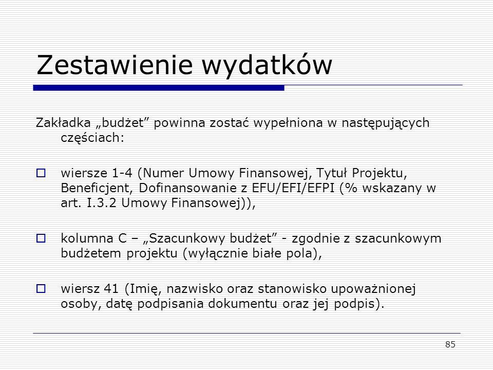 """Zestawienie wydatków Zakładka """"budżet powinna zostać wypełniona w następujących częściach:"""
