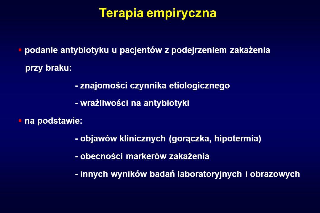 Terapia empiryczna podanie antybiotyku u pacjentów z podejrzeniem zakażenia. przy braku: - znajomości czynnika etiologicznego.
