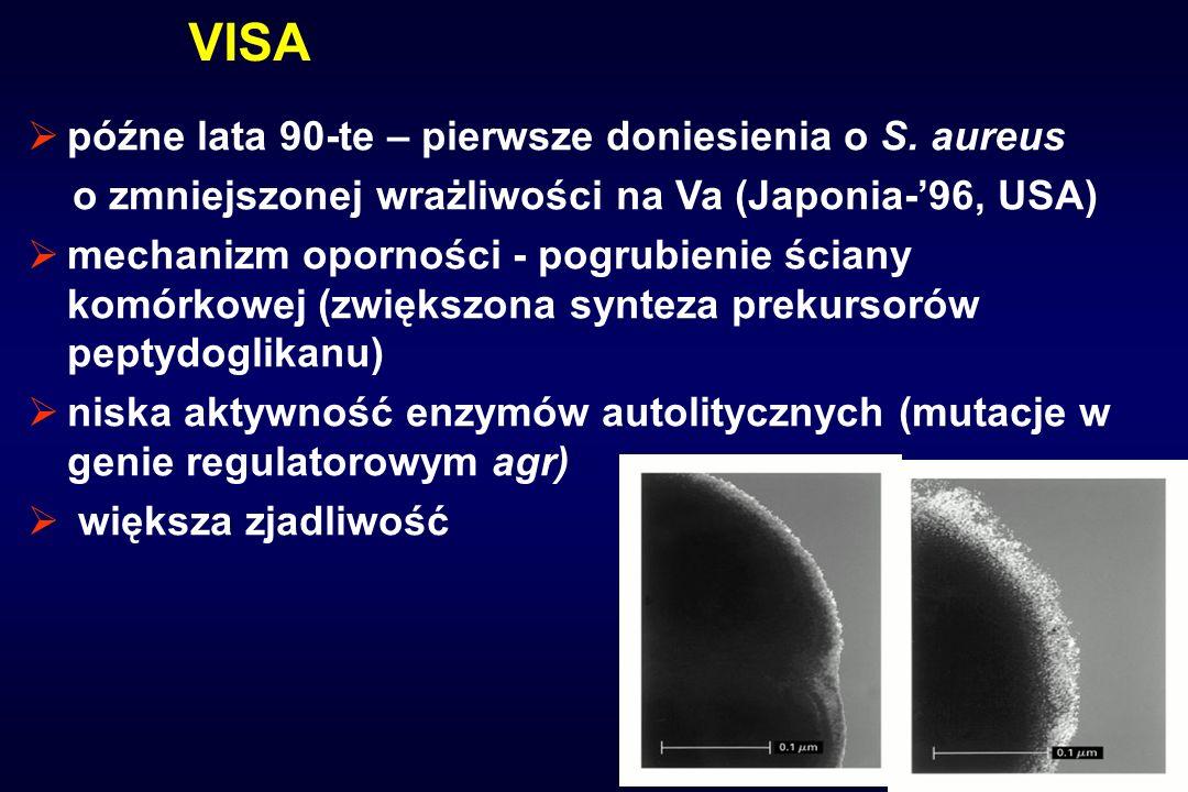 VISA późne lata 90-te – pierwsze doniesienia o S. aureus