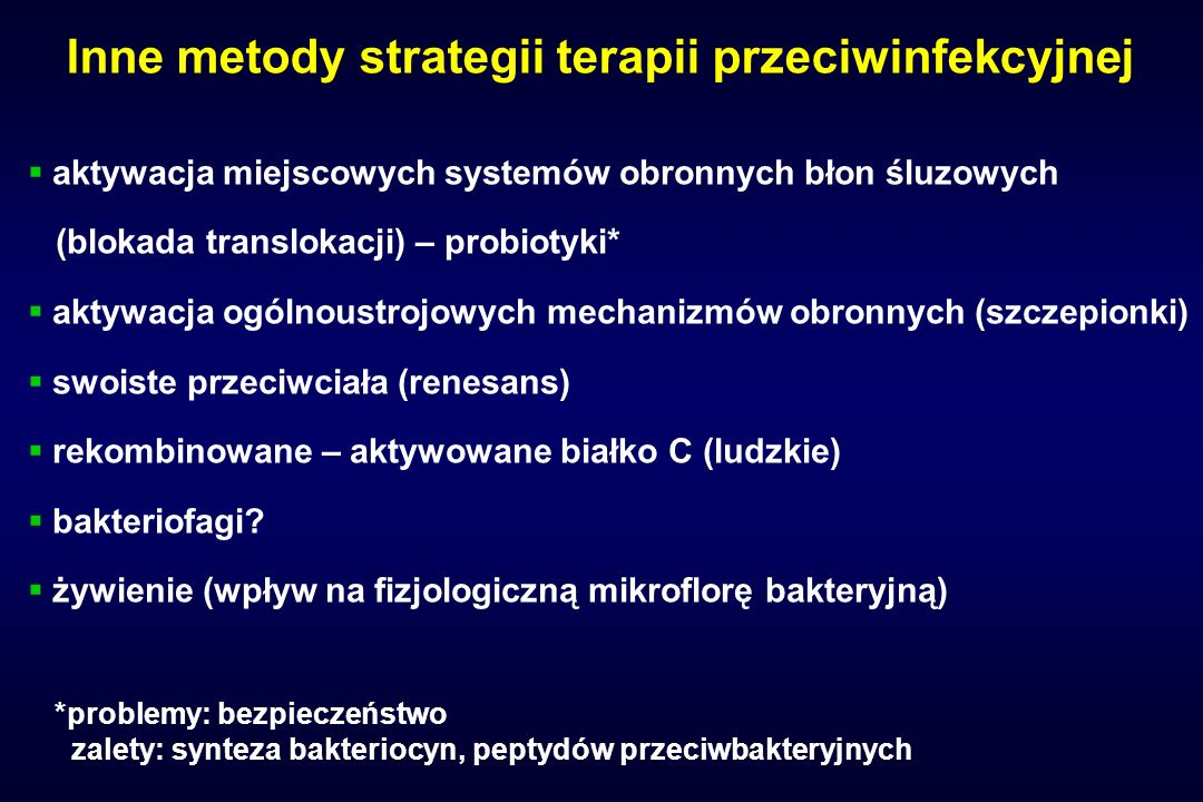 Inne metody strategii terapii przeciwinfekcyjnej