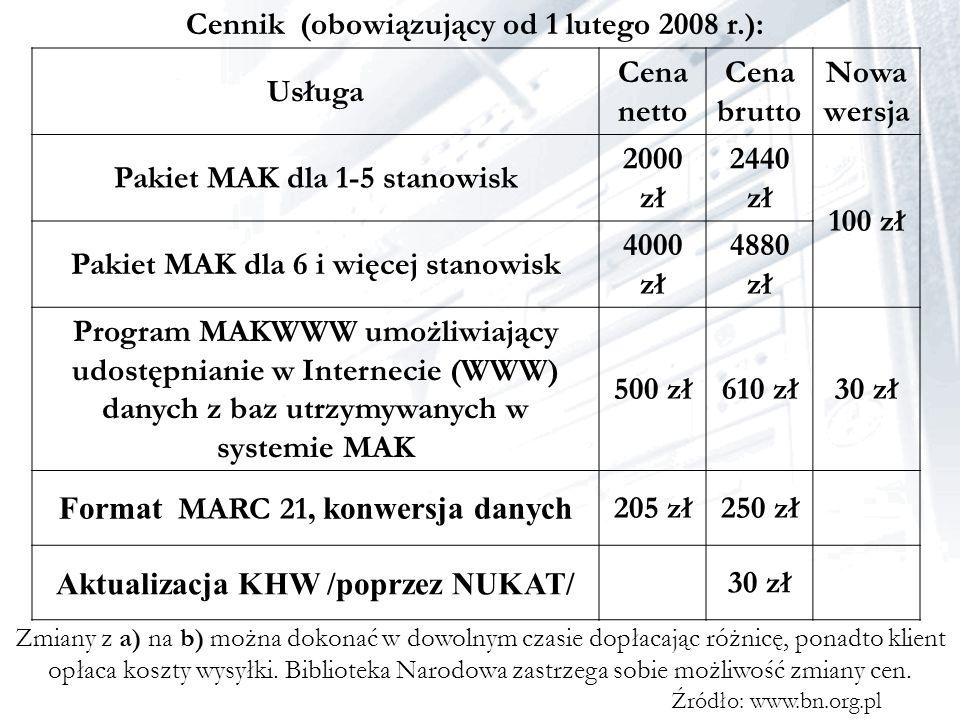 Cennik (obowiązujący od 1 lutego 2008 r.): Usługa Cena netto