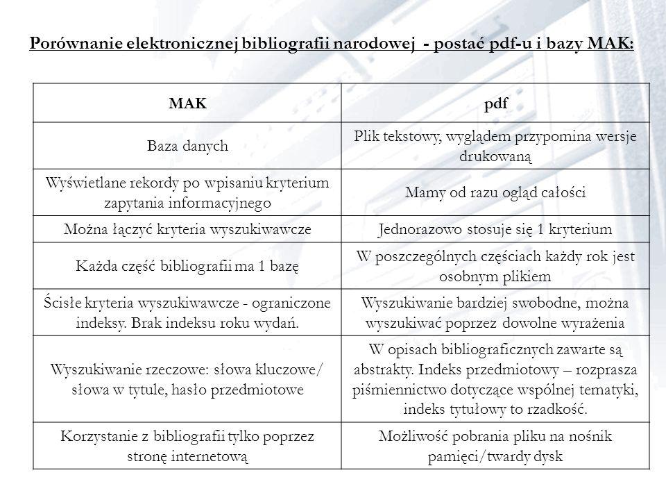 Porównanie elektronicznej bibliografii narodowej - postać pdf-u i bazy MAK: