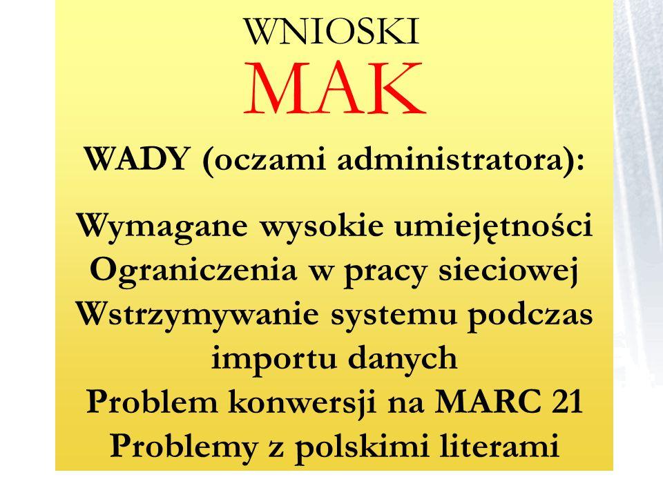 MAK WADY (oczami administratora):