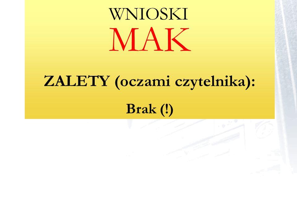 ZALETY (oczami czytelnika):