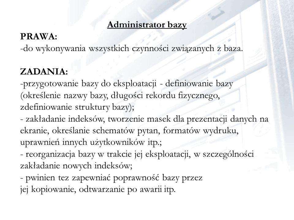 Administrator bazy PRAWA: do wykonywania wszystkich czynności związanych z baza. ZADANIA: