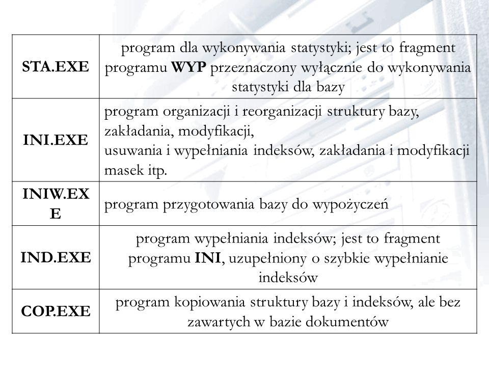 STA.EXE program dla wykonywania statystyki; jest to fragment programu WYP przeznaczony wyłącznie do wykonywania statystyki dla bazy.