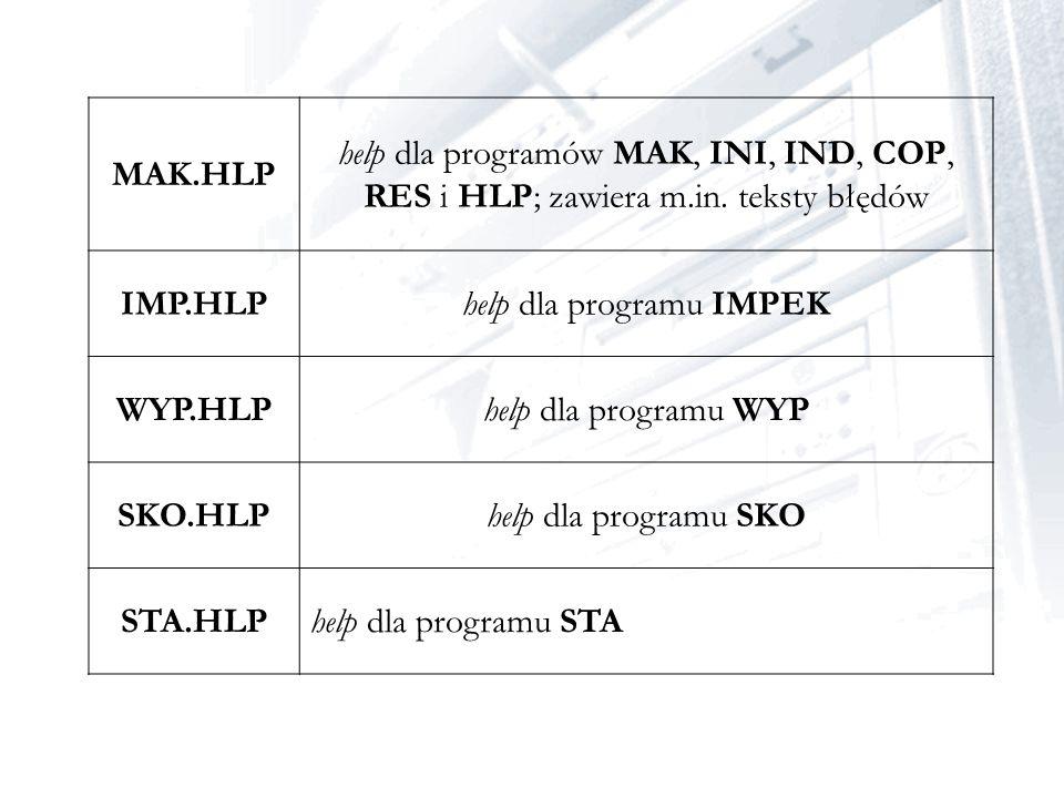 help dla programu IMPEK