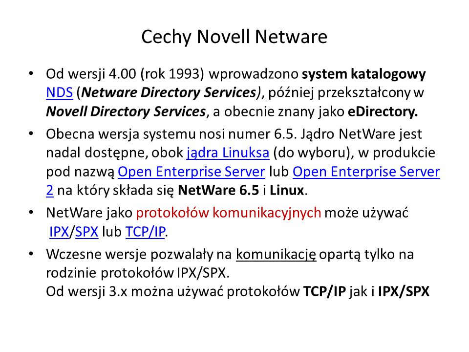 Cechy Novell Netware
