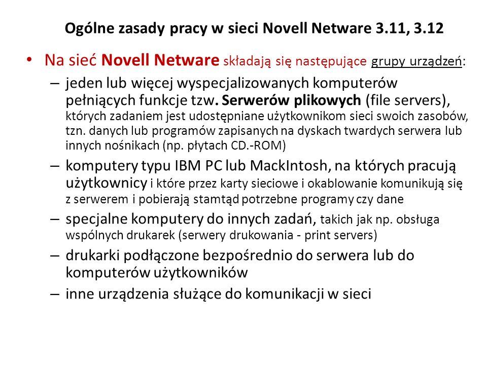 Ogólne zasady pracy w sieci Novell Netware 3.11, 3.12