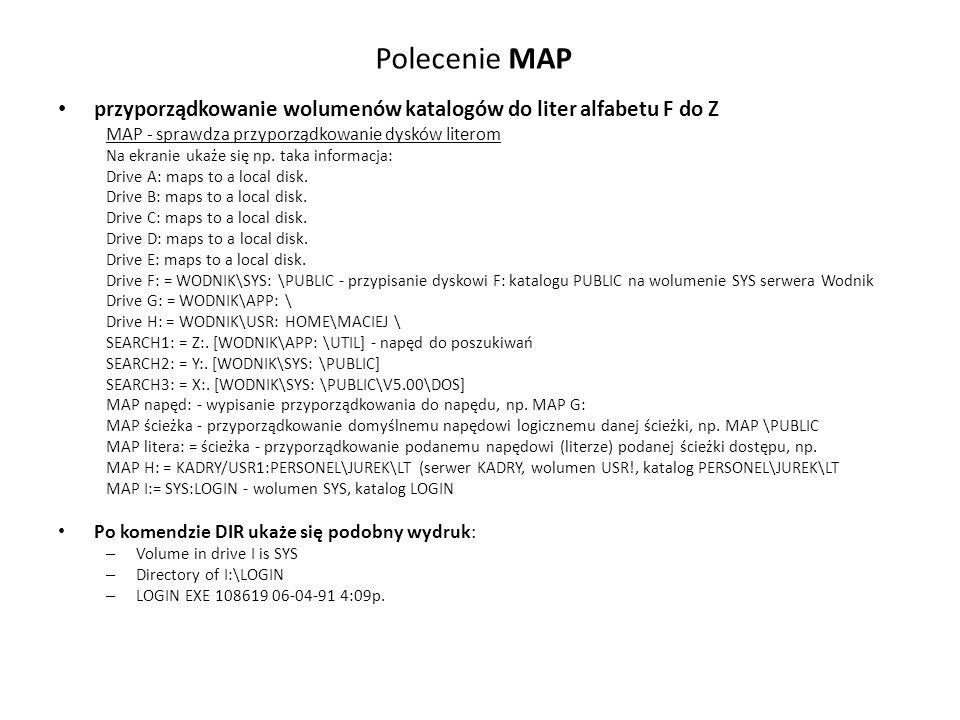Polecenie MAP przyporządkowanie wolumenów katalogów do liter alfabetu F do Z. MAP - sprawdza przyporządkowanie dysków literom.
