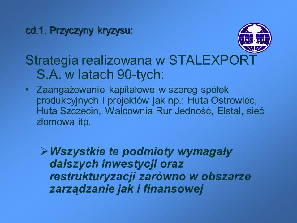 Strategia realizowana w STALEXPORT S.A. w latach 90-tych: