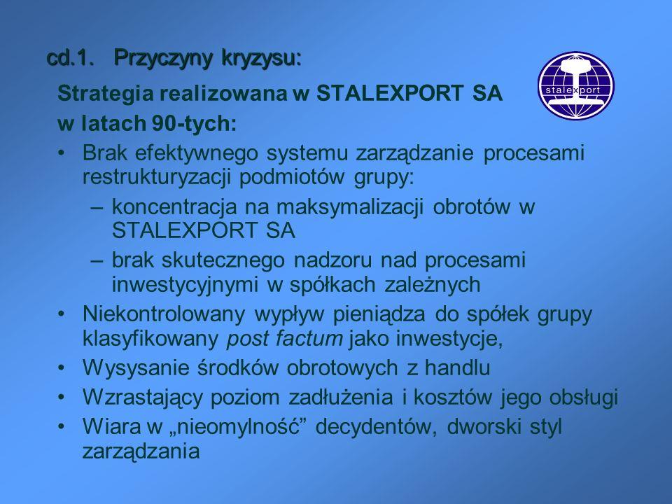 cd.1. Przyczyny kryzysu: Strategia realizowana w STALEXPORT SA. w latach 90-tych: