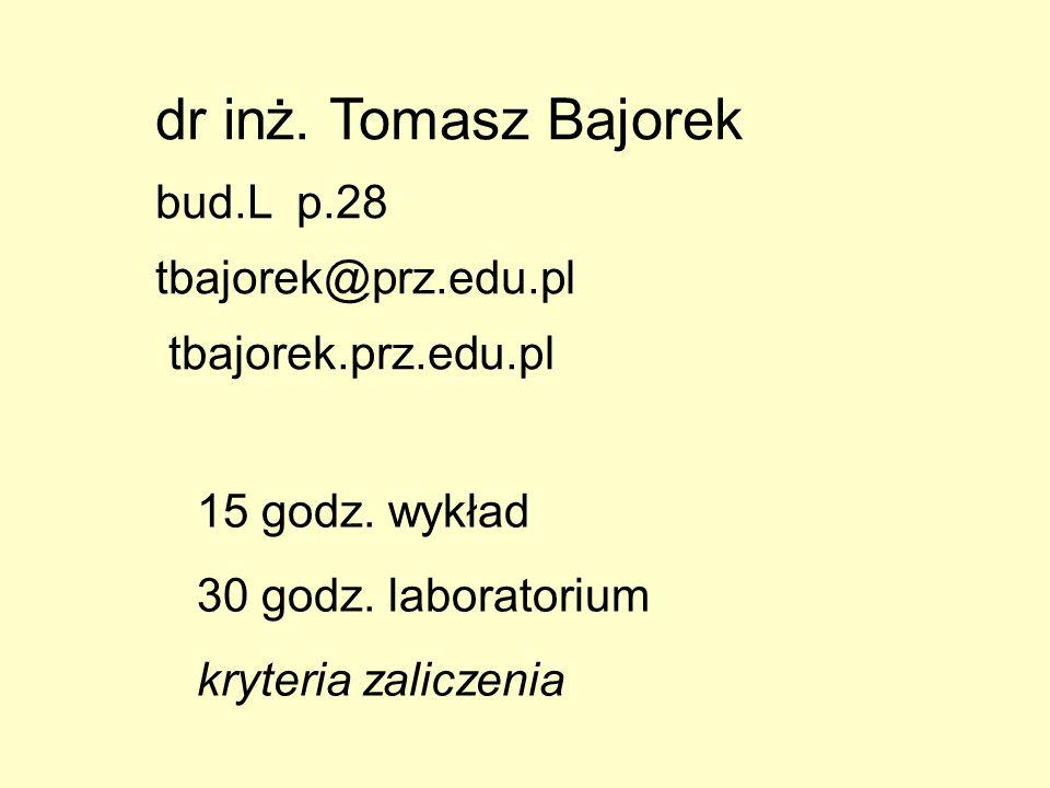 dr inż. Tomasz Bajorek bud.L p.28 tbajorek@prz.edu.pl