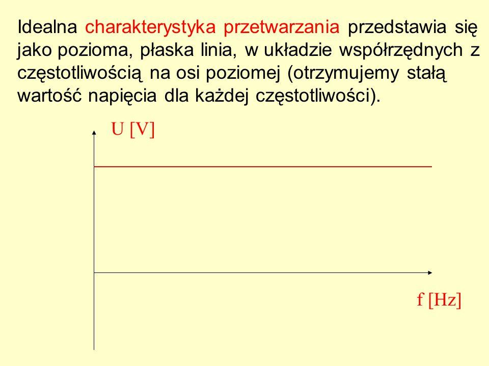 Idealna charakterystyka przetwarzania przedstawia się jako pozioma, płaska linia, w układzie współrzędnych z częstotliwością na osi poziomej (otrzymujemy stałą wartość napięcia dla każdej częstotliwości).