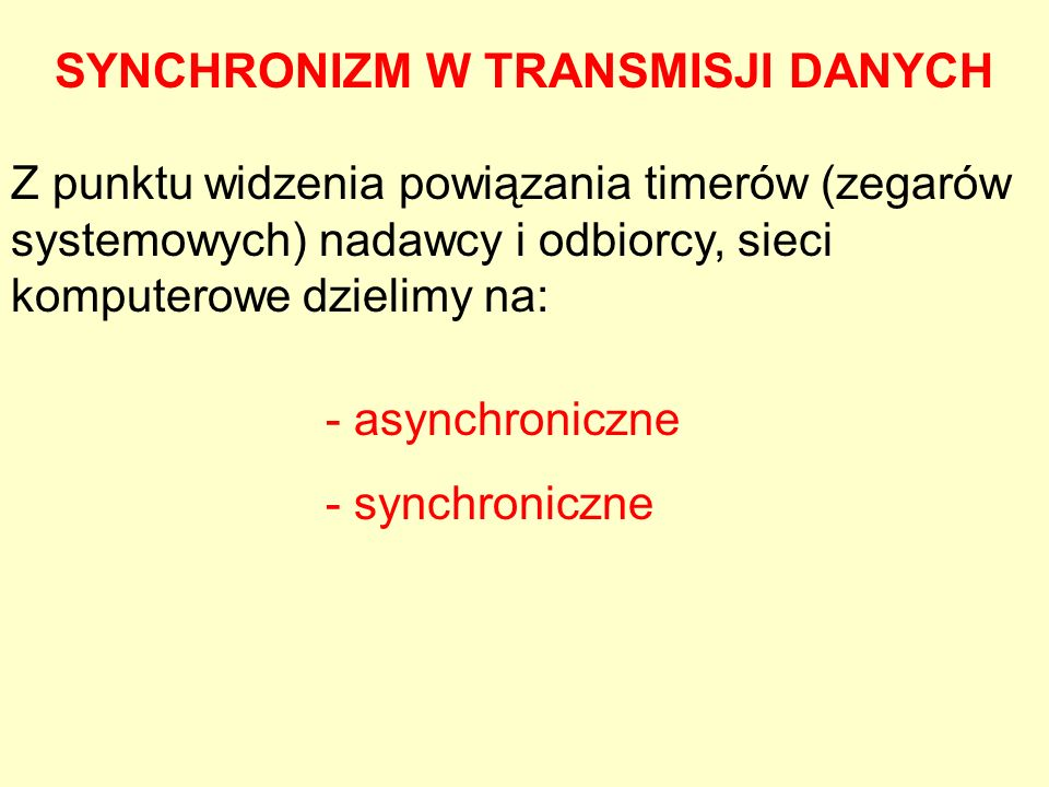 SYNCHRONIZM W TRANSMISJI DANYCH