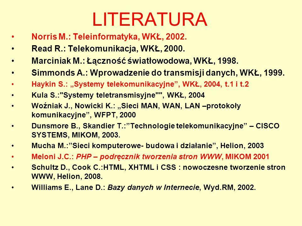 LITERATURA Norris M.: Teleinformatyka, WKŁ, 2002.