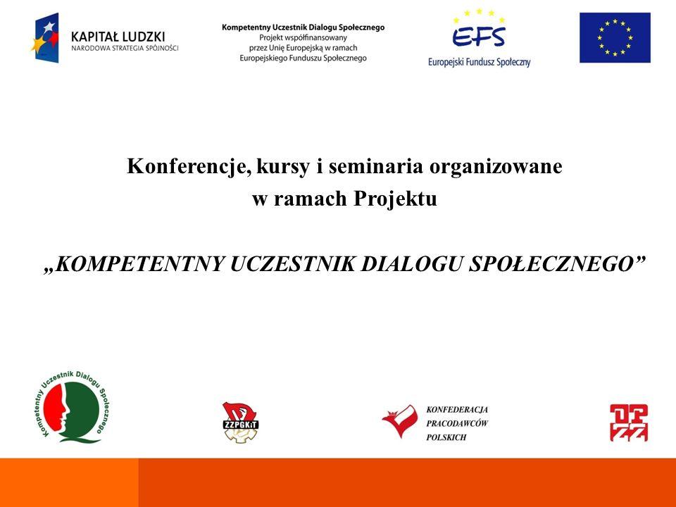 Konferencje, kursy i seminaria organizowane w ramach Projektu
