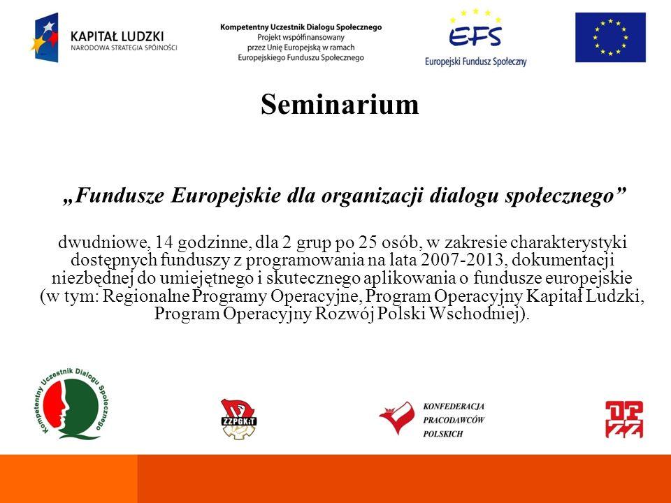 """""""Fundusze Europejskie dla organizacji dialogu społecznego"""