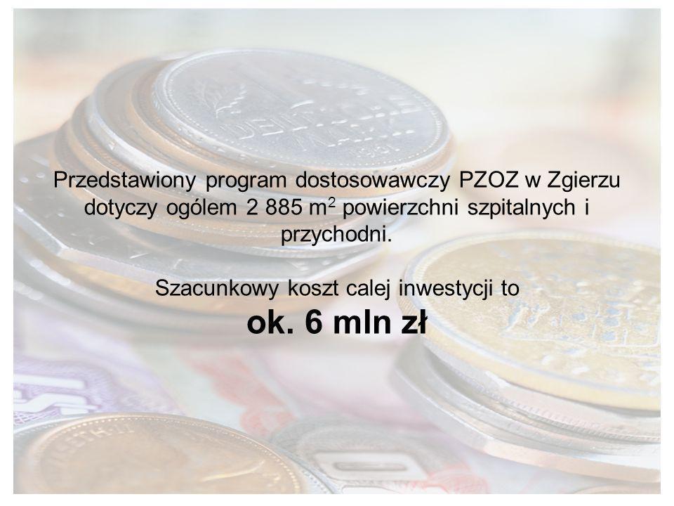 Przedstawiony program dostosowawczy PZOZ w Zgierzu dotyczy ogólem 2 885 m2 powierzchni szpitalnych i przychodni.