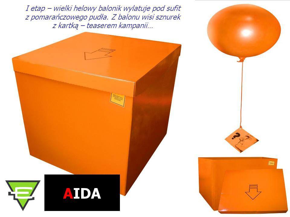I etap – wielki helowy balonik wylatuje pod sufit z pomarańczowego pudła. Z balonu wisi sznurek z kartką – teaserem kampanii…