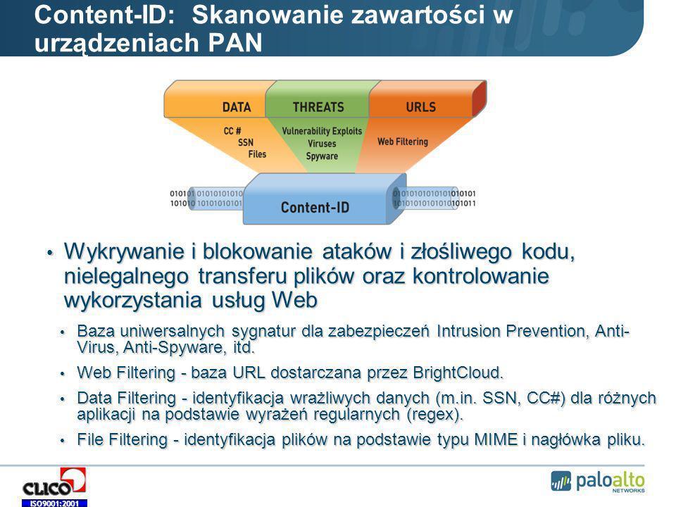 Content-ID: Skanowanie zawartości w urządzeniach PAN