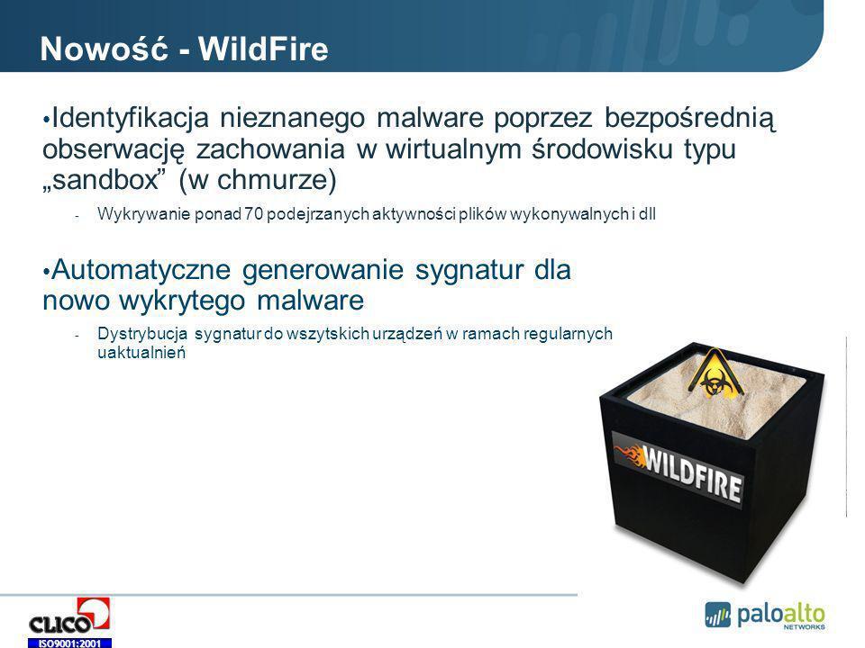 """Nowość - WildFire Identyfikacja nieznanego malware poprzez bezpośrednią obserwację zachowania w wirtualnym środowisku typu """"sandbox (w chmurze)"""