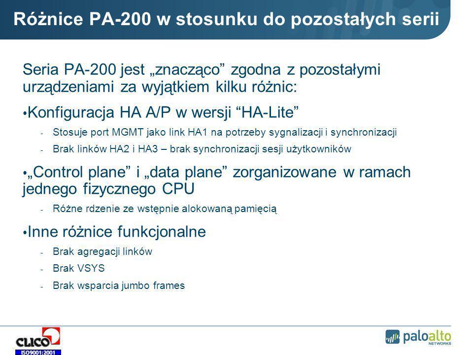 Różnice PA-200 w stosunku do pozostałych serii