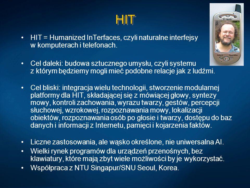 HIT HIT = Humanized InTerfaces, czyli naturalne interfejsy w komputerach i telefonach.