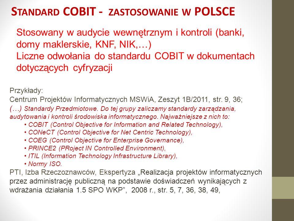 Standard COBIT - zastosowanie w POLSCE
