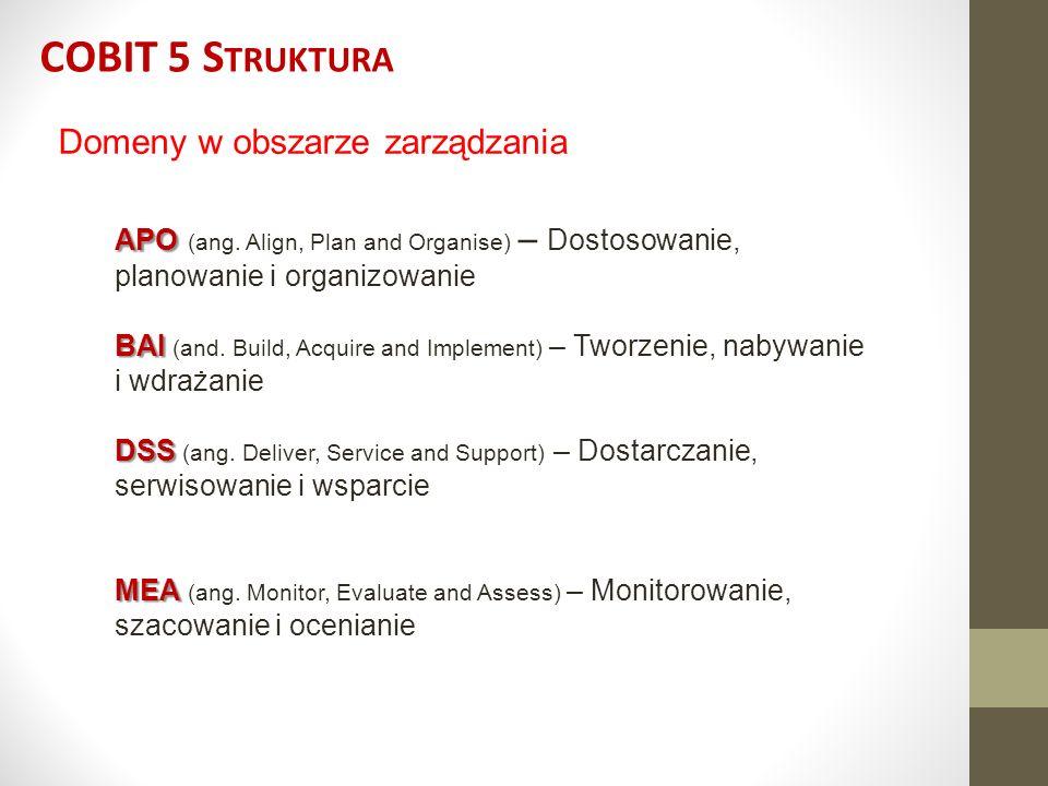 COBIT 5 Struktura Domeny w obszarze zarządzania