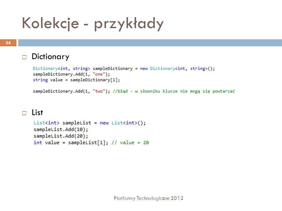Kolekcje - przykłady Dictionary List Platformy Technologiczne 2012