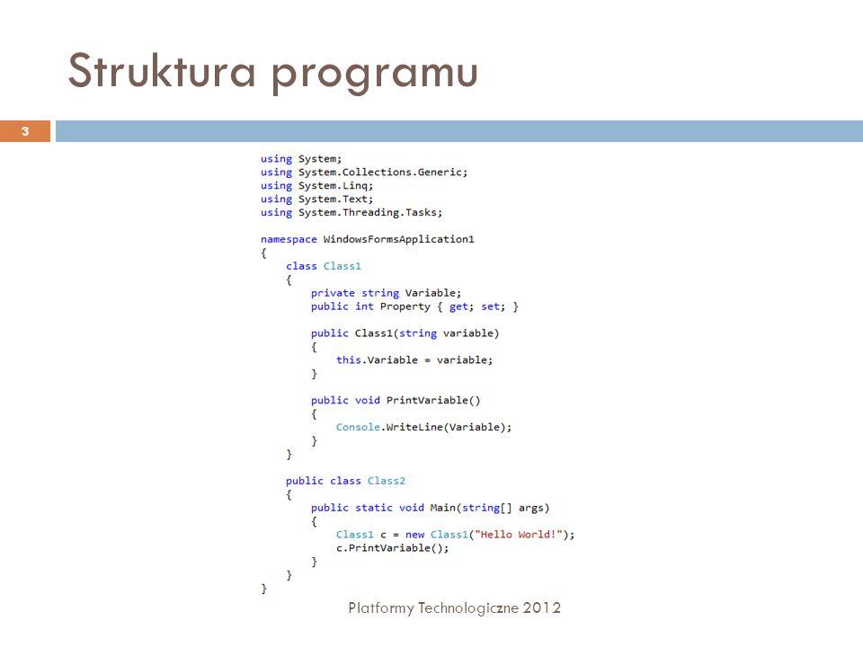 Struktura programu Platformy Technologiczne 2012