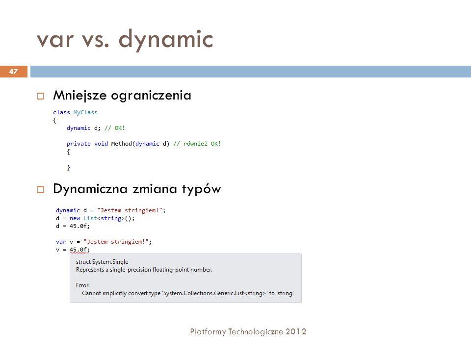 var vs. dynamic Mniejsze ograniczenia Dynamiczna zmiana typów